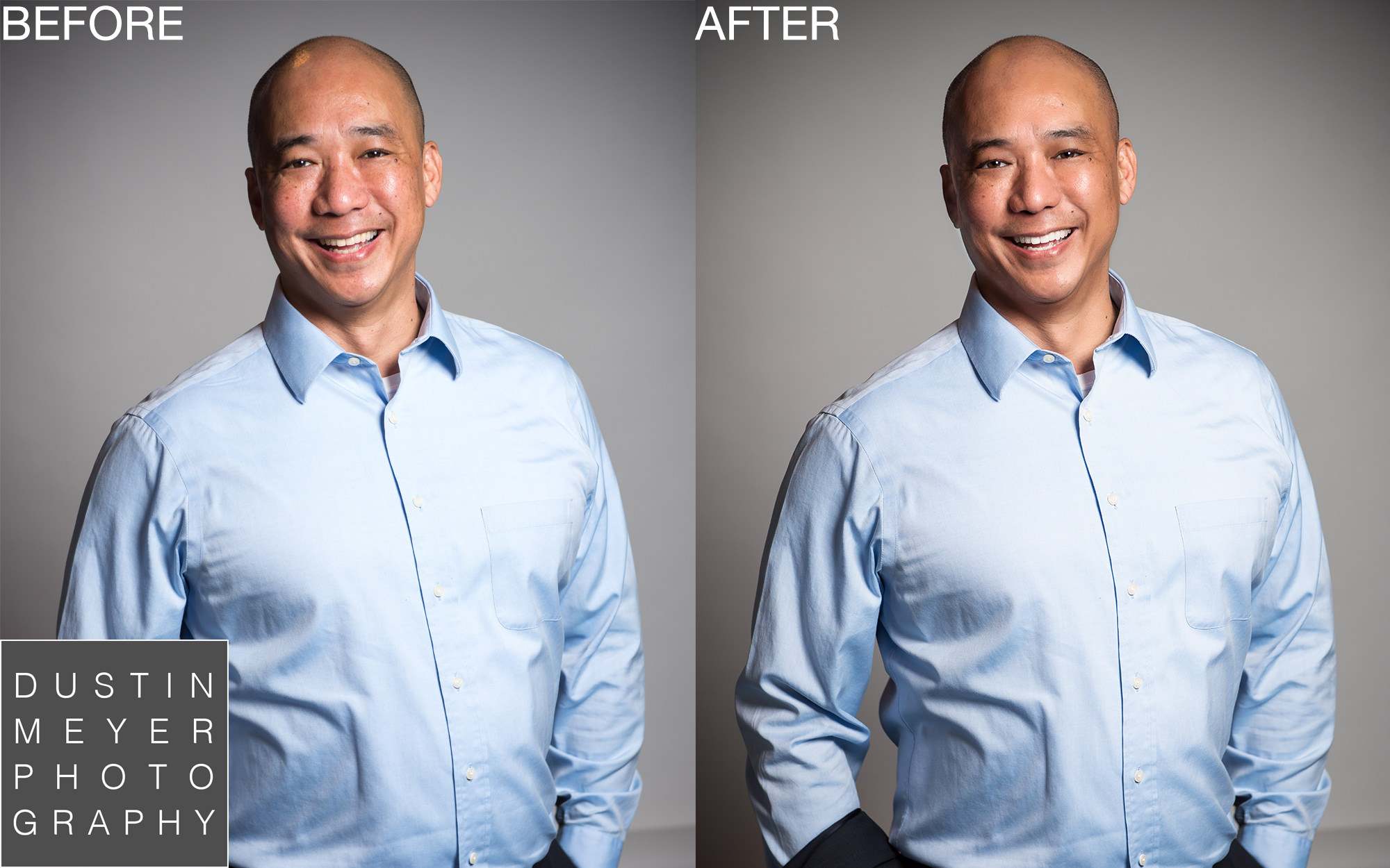 Professional Headshots Retouched before and after